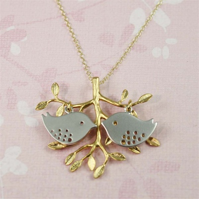 Gold Tree Silver Lovebird Necklace