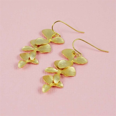 Gold Triple Orchid Earrings