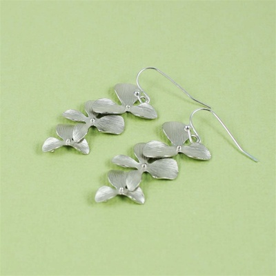 Silver Triple Orchid Earrings