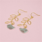 Gold Leaf Branch Bird Earrings
