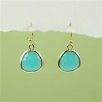 Gold Framed Green Stone Earrings