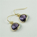 Gold Framed Gray Stone Earrings