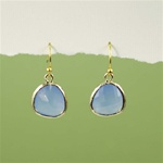Gold Framed Blue Stone Earrings