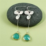 Silver Orchid Green Stone Dangling Earrings