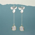 Silver Orchid Pink Stone Dangling Earrings