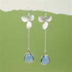 Silver Orchid Blue Stone Dangling Earrings