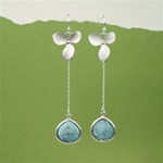 Silver Orchid Turquoise Stone Dangling Earrings