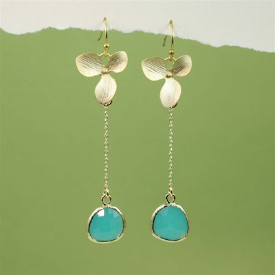Gold Orchid Green Stone Dangling Earrings