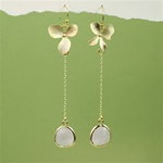 Gold Orchid Pink Stone Dangling Earrings