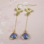 Gold Orchid Blue Stone Dangling Earrings