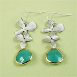 Silver Double Orchid Green Stone Earrings