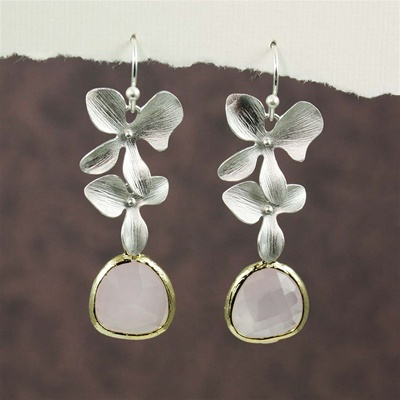 Silver Double Orchid Pink Stone Earrings