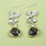 Silver Double Orchid Purple Stone Earrings
