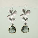Silver Double Orchid Gray Stone Earrings