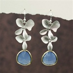 Silver Double Orchid Blue Stone Earrings