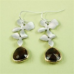 Silver Double Orchid Brown Stone Earrings