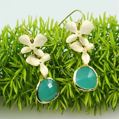 Gold Double Orchid Green Stone Earrings