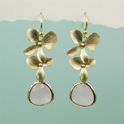 Gold Double Orchid Pink Stone Earrings