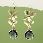 Gold Double Orchid Purple Stone Earrings