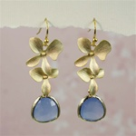 Gold Double Orchid Blue Stone Earrings