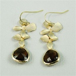 Gold Double Orchid Brown Stone Earrings
