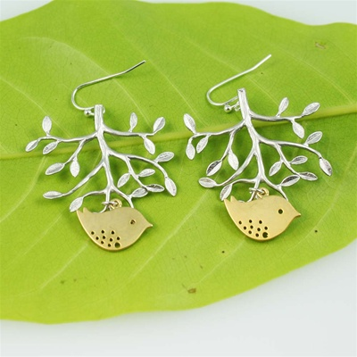 Silver Tree Gold Bird Earrings