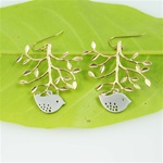 Gold Tree Silver Bird Earrings