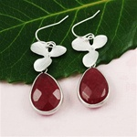 Silver Orchid Ruby Drop Earrings