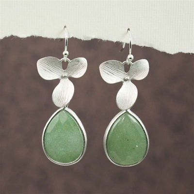 Silver Orchid Aventurine Drop Earrings