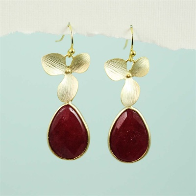 Gold Orchid Ruby Drop Earrings