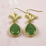 Gold Orchid Aventurine Drop Earrings