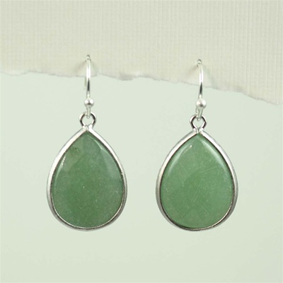 Silver Aventurine Drop Earrings