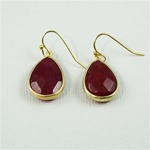 Gold Ruby Drop Earrings