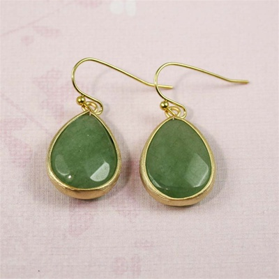 Gold Aenturine Drop Earrings
