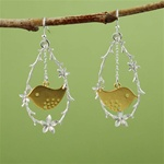Silver Flower Branch Gold Bird Earrings