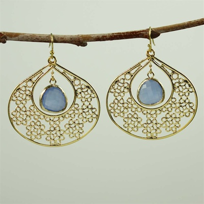 Gold Flower Pattern Blue Stone Earrings