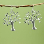 Silver Heart Tree Earrings