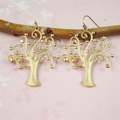 Gold Heart Tree Earrings