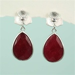 Silver Ruby Drop Stub Earrings