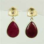 Gold Ruby Drop Stud Earrings