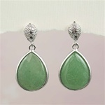 Silver Aventurine Stud Earrings