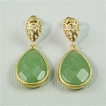 Gold Aventurine Drop Stud Earrings
