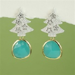 Silver Tree Green Stone Earrings