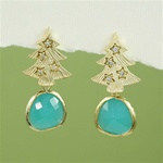 Gold Tree Green Stone Earrings