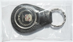 Leather Key Fob with Chrome Trim