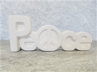 Bisque Peace Block Letters (Unpainted, ready for glaze)