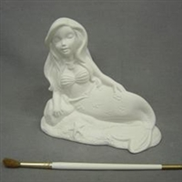 Bisque Reclining Mermaid (Unpainted, ready for glaze)