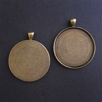 Antique Brass Large 1.125in/30mm Round Bezel - 1pc