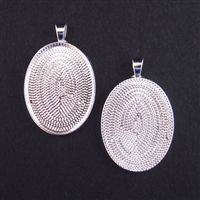 Silver Plate Medium 22x30mm Oval Bezel - 1pc