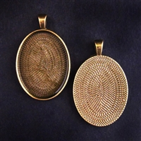 Antique Brass Medium 22x30mm Oval Bezel - 5pc